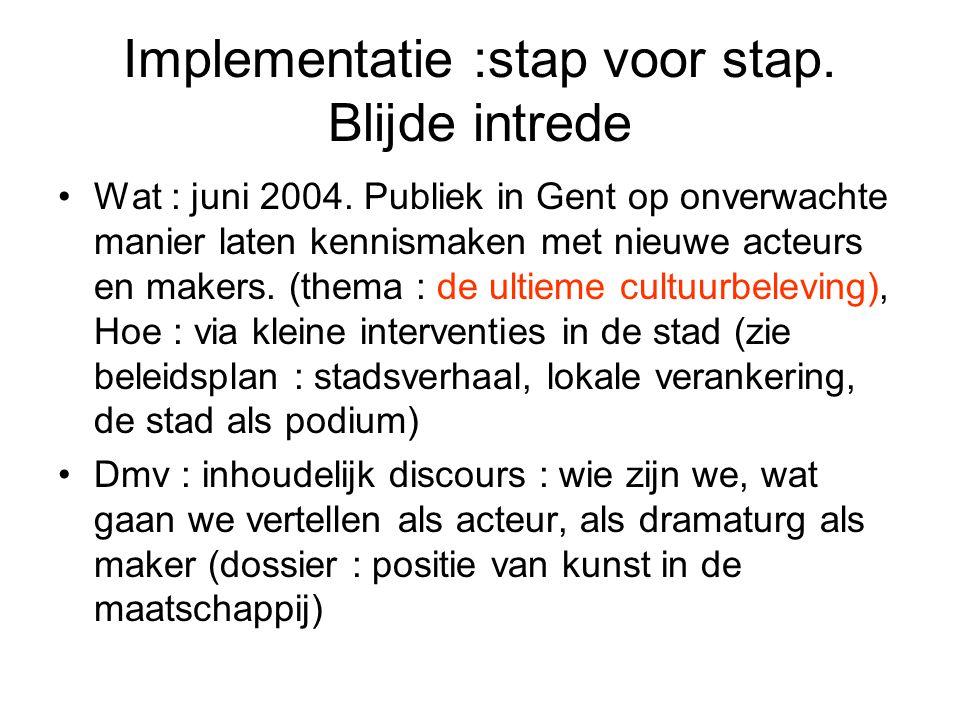 Implementatie :stap voor stap. Blijde intrede