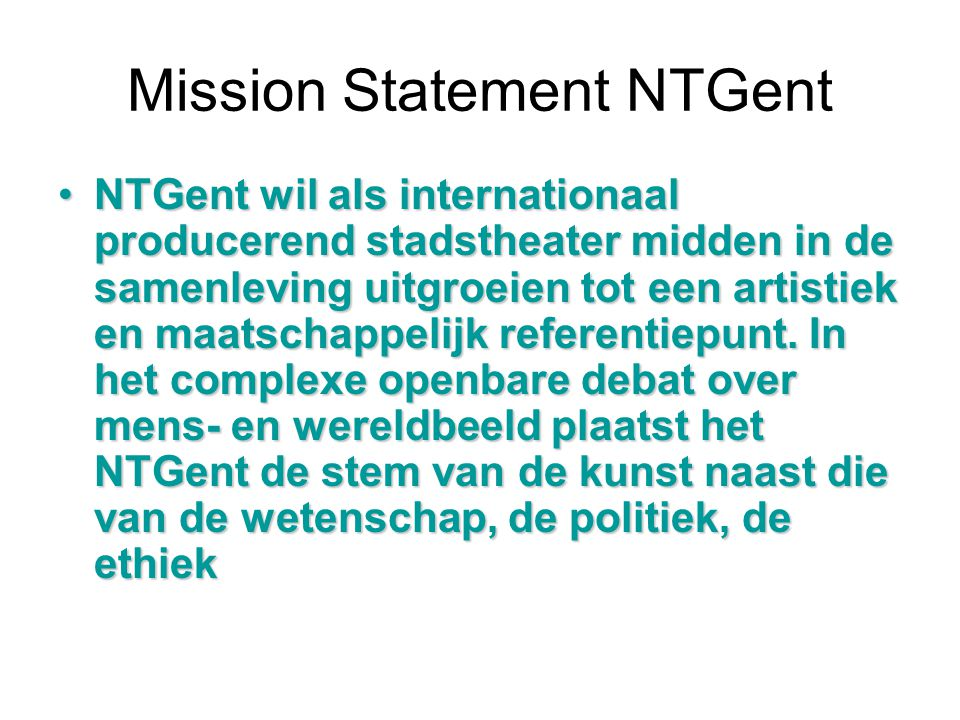Mission Statement NTGent