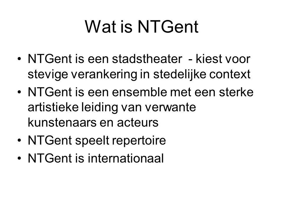 Wat is NTGent NTGent is een stadstheater - kiest voor stevige verankering in stedelijke context.