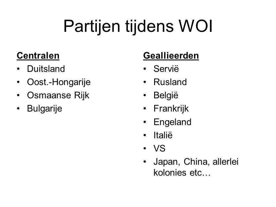 Partijen tijdens WOI Centralen Duitsland Oost.-Hongarije Osmaanse Rijk