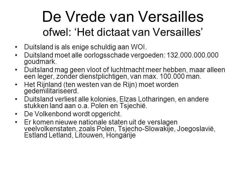 De Vrede van Versailles ofwel: 'Het dictaat van Versailles'