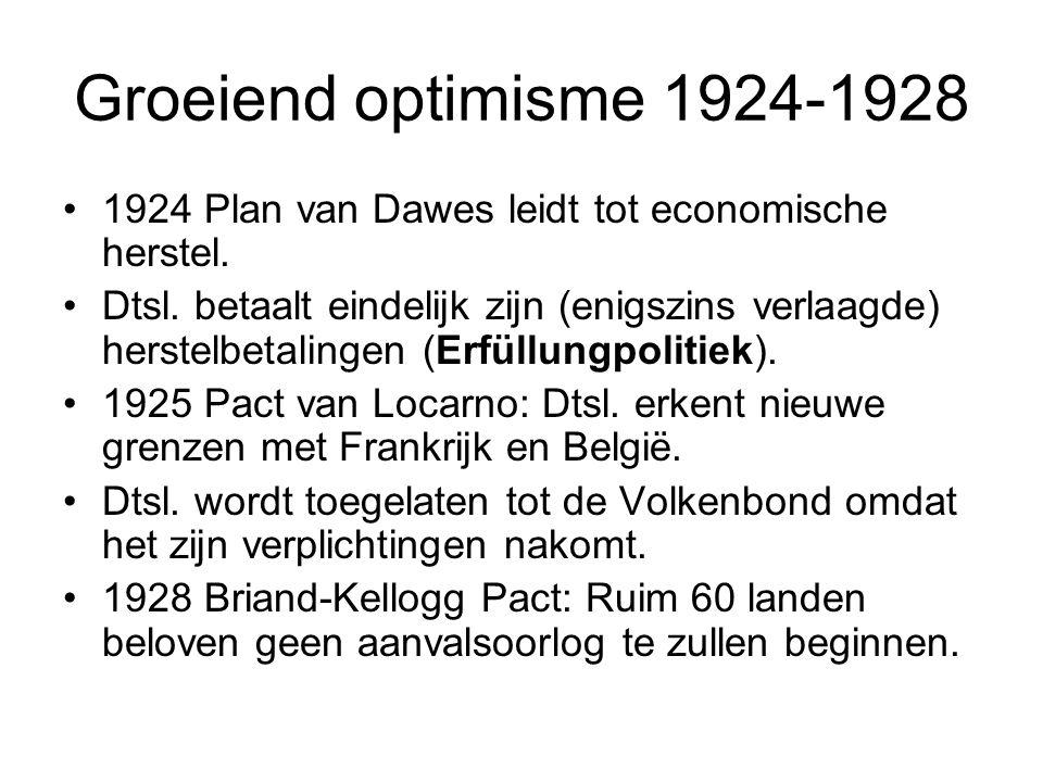 Groeiend optimisme 1924-1928 1924 Plan van Dawes leidt tot economische herstel.