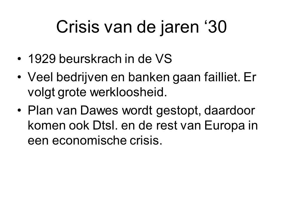 Crisis van de jaren '30 1929 beurskrach in de VS