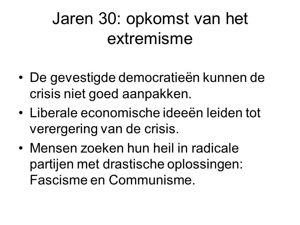 Jaren 30: opkomst van het extremisme