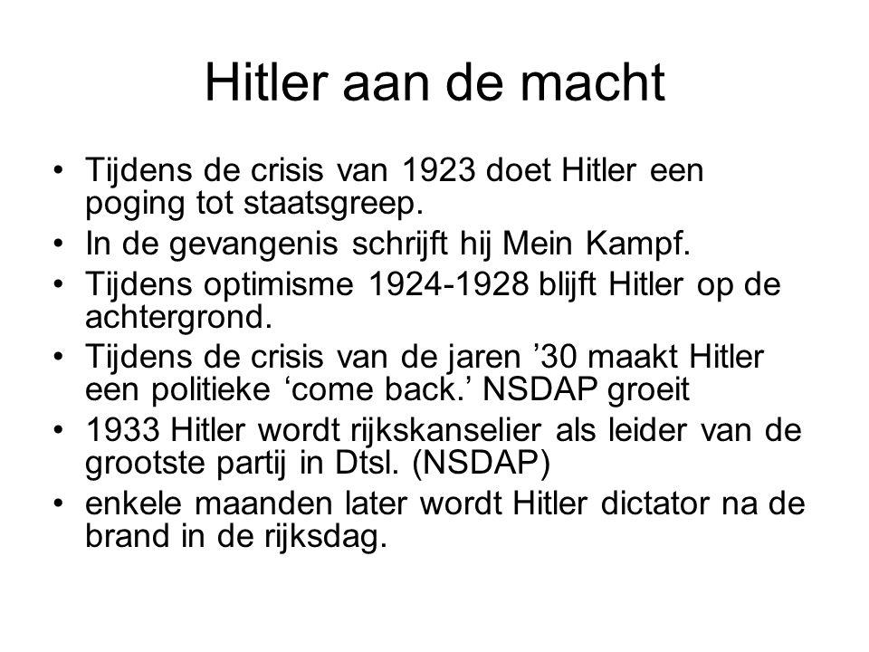 Hitler aan de macht Tijdens de crisis van 1923 doet Hitler een poging tot staatsgreep. In de gevangenis schrijft hij Mein Kampf.
