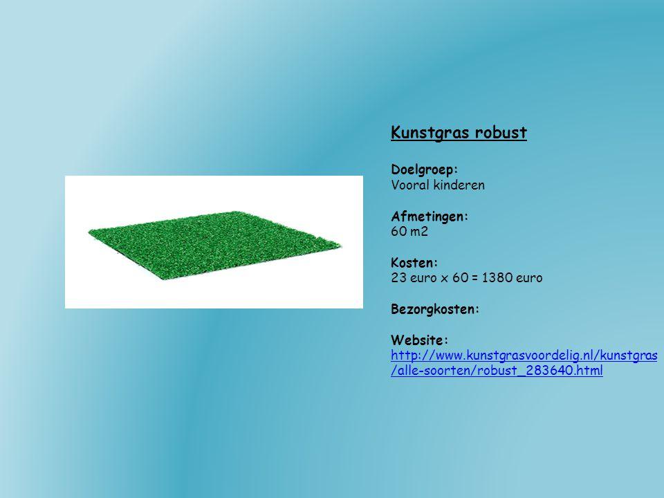 Kunstgras robust Doelgroep: Vooral kinderen Afmetingen: 60 m2 Kosten: