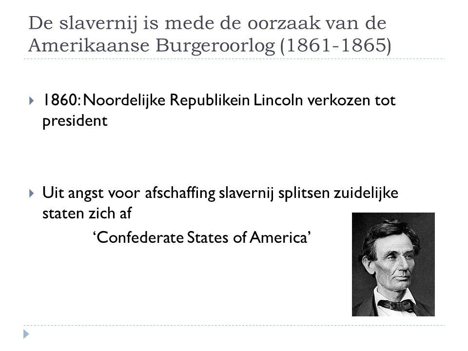 De slavernij is mede de oorzaak van de Amerikaanse Burgeroorlog (1861-1865)
