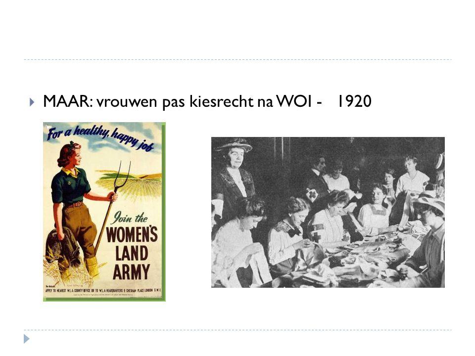 MAAR: vrouwen pas kiesrecht na WOI - 1920