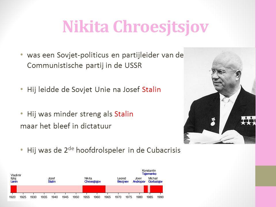 Nikita Chroesjtsjov was een Sovjet-politicus en partijleider van de Communistische partij in de USSR.