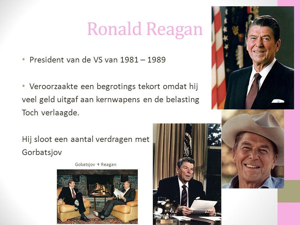 Ronald Reagan President van de VS van 1981 – 1989