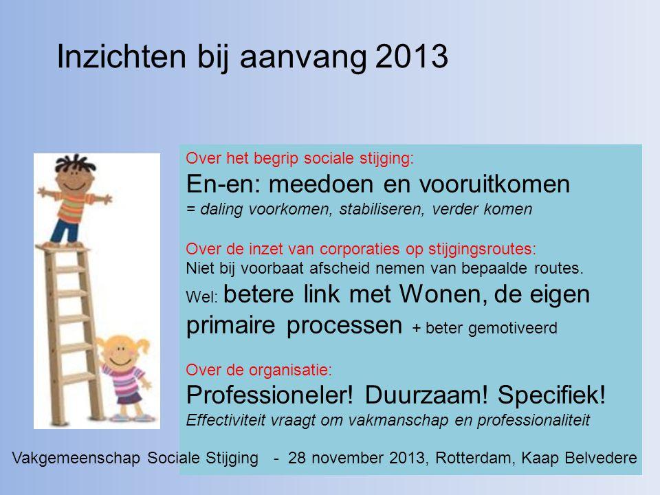Inzichten bij aanvang 2013 Over het begrip sociale stijging: En-en: meedoen en vooruitkomen = daling voorkomen, stabiliseren, verder komen.