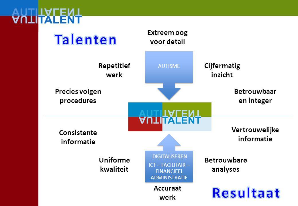 Talenten Resultaat Extreem oog voor detail Repetitief werk