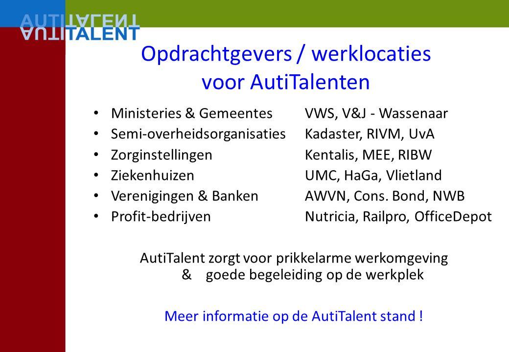 Opdrachtgevers / werklocaties voor AutiTalenten