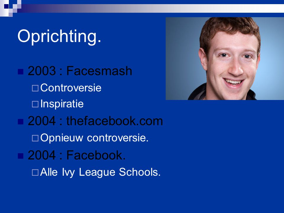 Oprichting : Facesmash 2004 : thefacebook.com 2004 : Facebook.