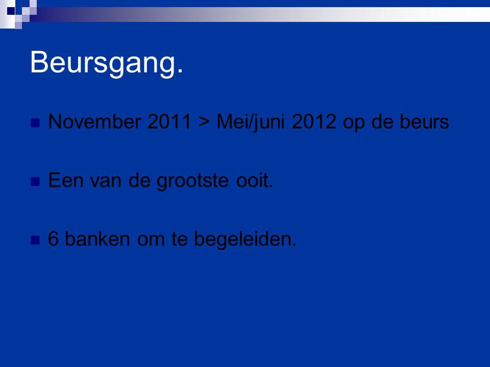 Beursgang. November 2011 > Mei/juni 2012 op de beurs