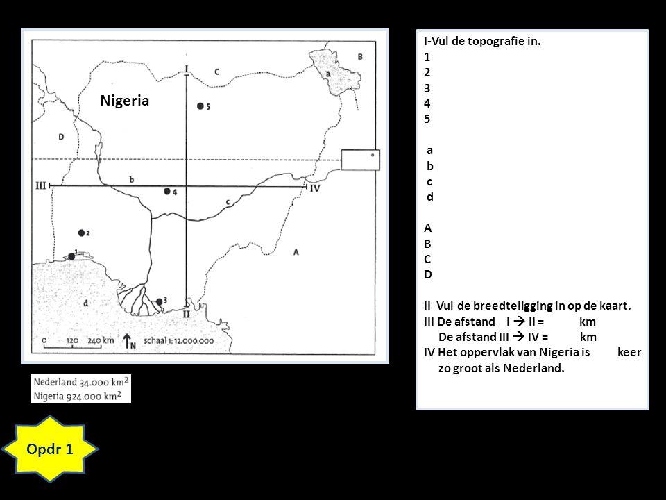 Nigeria Opdr 1 I-Vul de topografie in. 1 2 3 4 5 a b c d A B C D