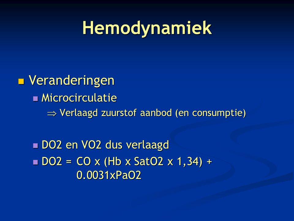 Hemodynamiek Veranderingen Microcirculatie DO2 en VO2 dus verlaagd