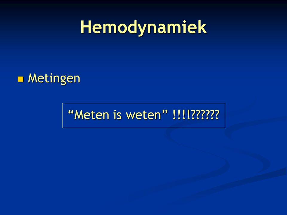Hemodynamiek Metingen Meten is weten !!!!