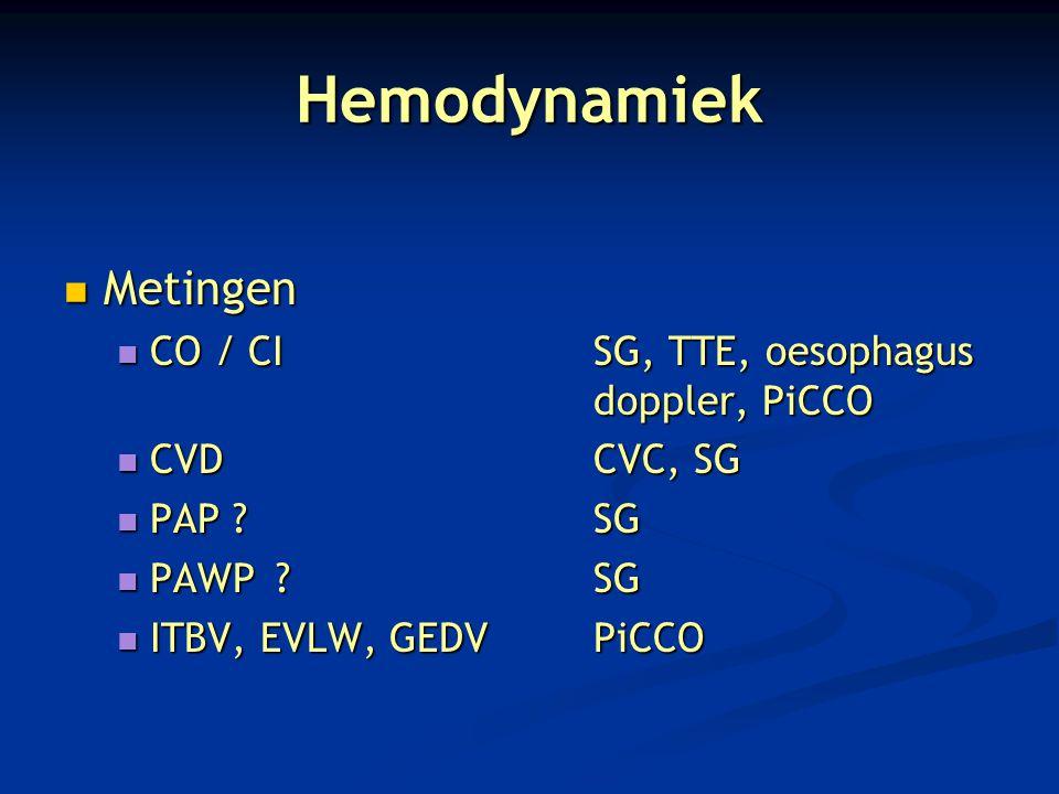 Hemodynamiek Metingen CO / CI SG, TTE, oesophagus doppler, PiCCO