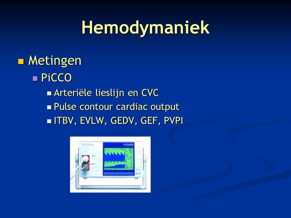 Hemodymaniek Metingen PiCCO Arteriële lieslijn en CVC
