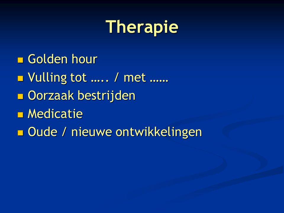Therapie Golden hour Vulling tot ….. / met …… Oorzaak bestrijden