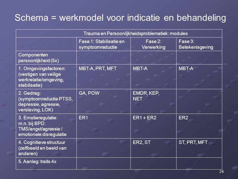 Schema = werkmodel voor indicatie en behandeling