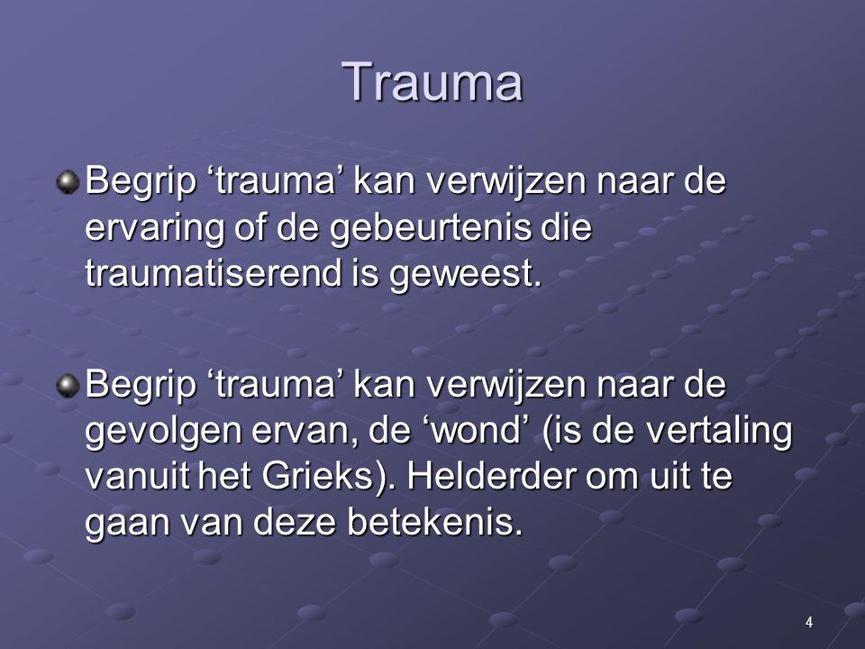 Trauma Begrip 'trauma' kan verwijzen naar de ervaring of de gebeurtenis die traumatiserend is geweest.