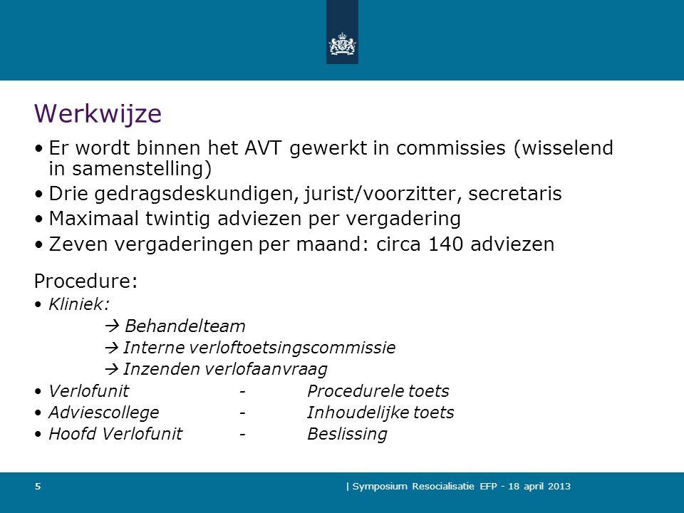 Werkwijze Er wordt binnen het AVT gewerkt in commissies (wisselend in samenstelling) Drie gedragsdeskundigen, jurist/voorzitter, secretaris.