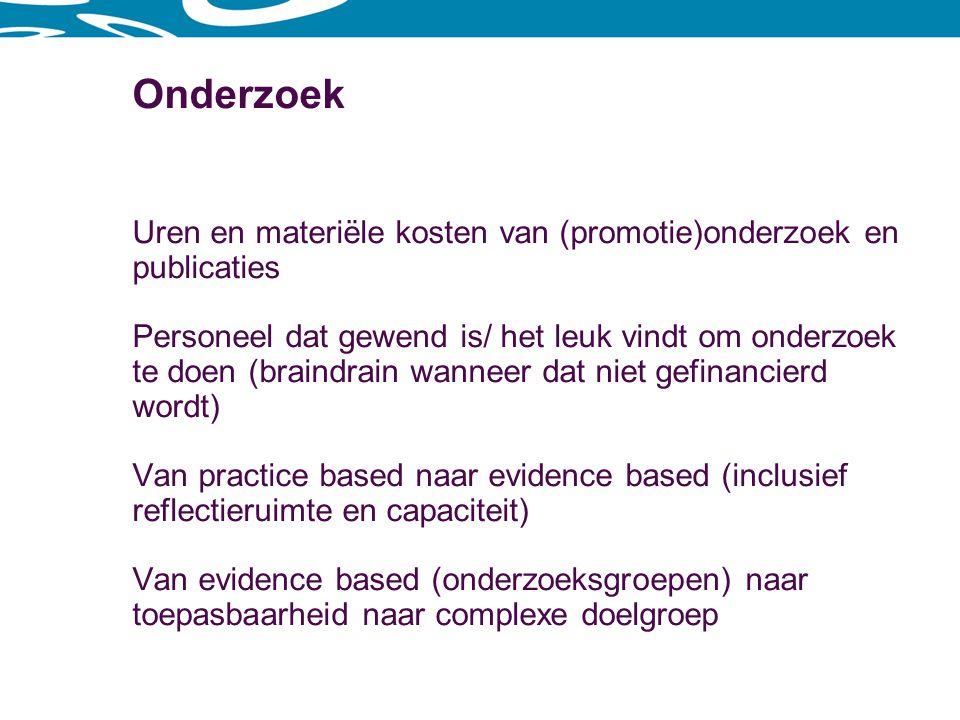 Onderzoek Uren en materiële kosten van (promotie)onderzoek en publicaties.