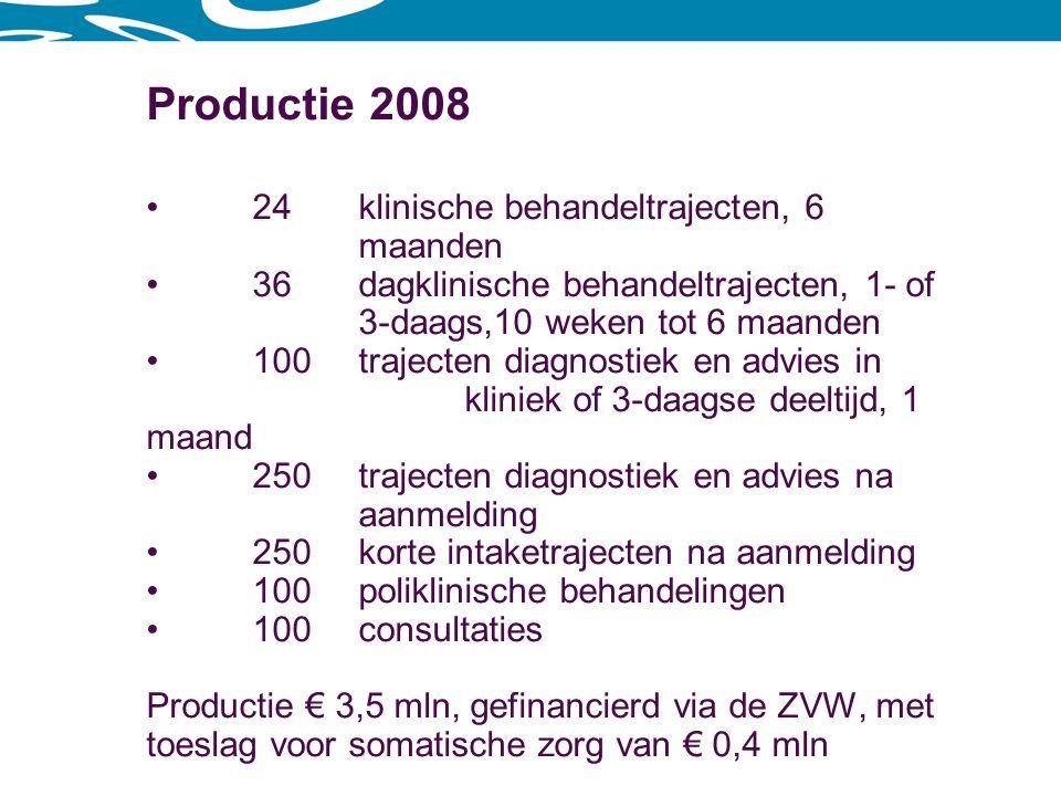 Productie 2008 24 klinische behandeltrajecten, 6 maanden