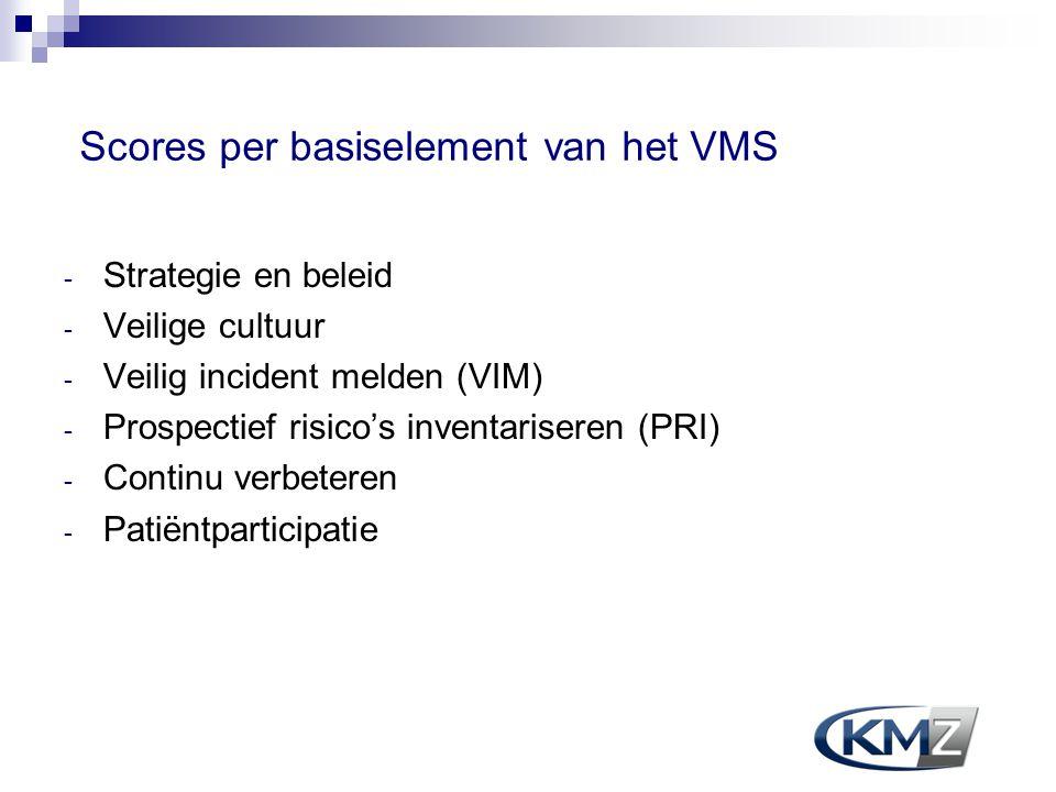 Scores per basiselement van het VMS