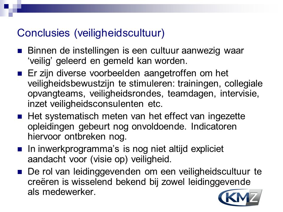 Conclusies (veiligheidscultuur)