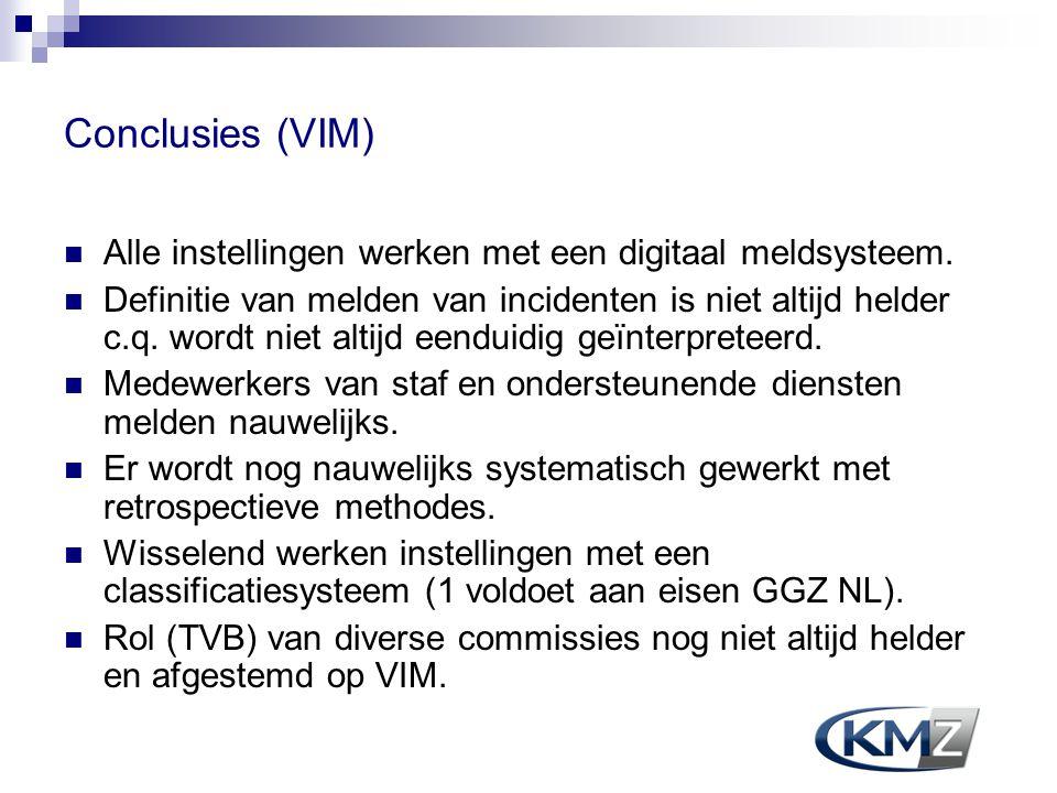 Conclusies (VIM) Alle instellingen werken met een digitaal meldsysteem.