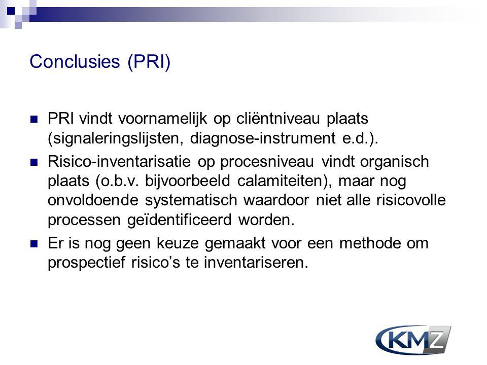 Conclusies (PRI) PRI vindt voornamelijk op cliëntniveau plaats (signaleringslijsten, diagnose-instrument e.d.).