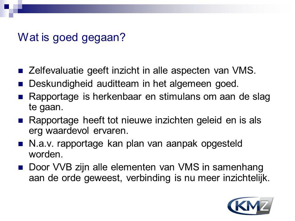 Wat is goed gegaan Zelfevaluatie geeft inzicht in alle aspecten van VMS. Deskundigheid auditteam in het algemeen goed.