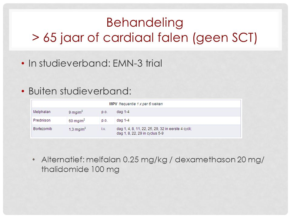Behandeling > 65 jaar of cardiaal falen (geen SCT)