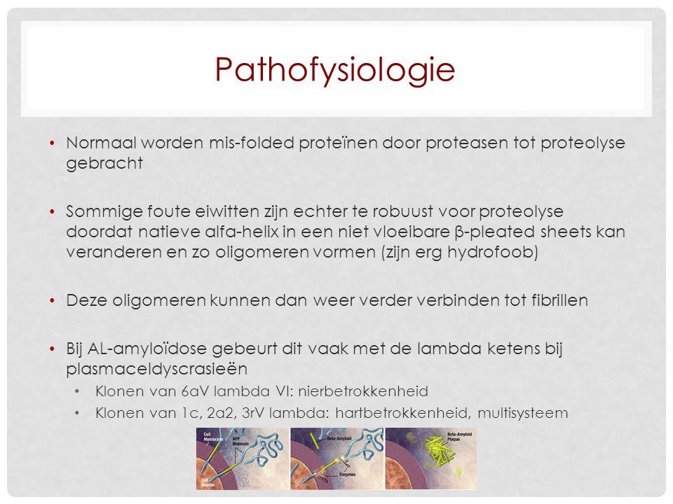 Pathofysiologie Normaal worden mis-folded proteïnen door proteasen tot proteolyse gebracht.