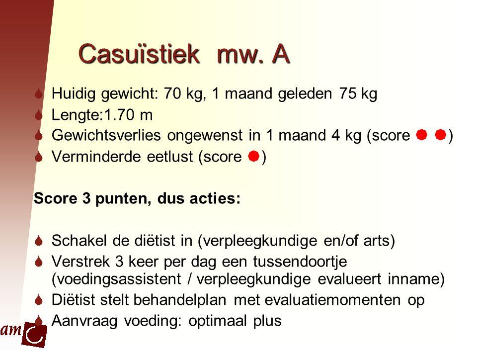 Casuïstiek mw. A Huidig gewicht: 70 kg, 1 maand geleden 75 kg