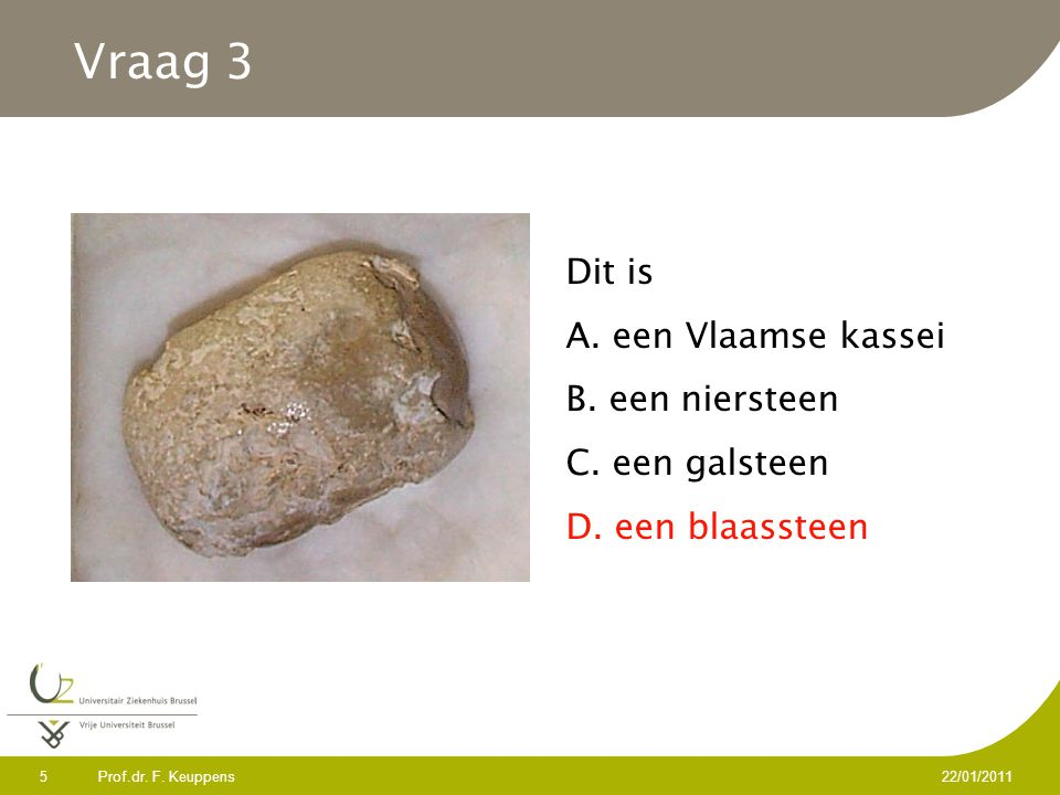 Vraag 3 Dit is A. een Vlaamse kassei B. een niersteen C. een galsteen