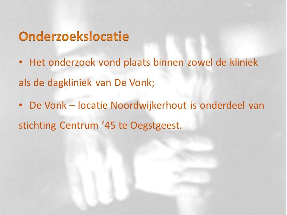Onderzoekslocatie Het onderzoek vond plaats binnen zowel de kliniek als de dagkliniek van De Vonk;