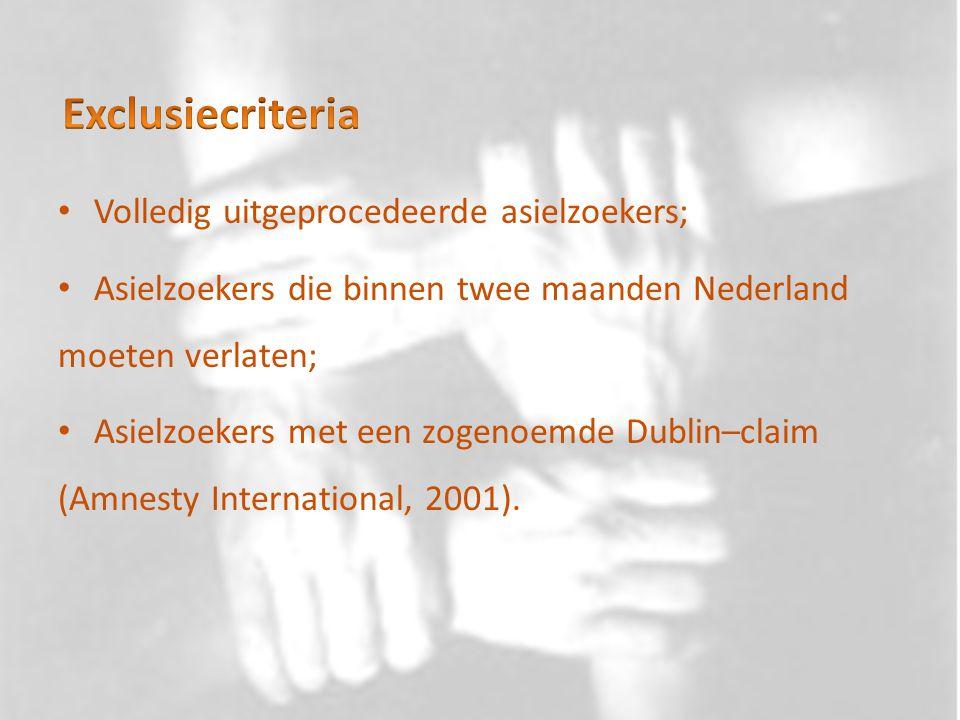 Exclusiecriteria Volledig uitgeprocedeerde asielzoekers;