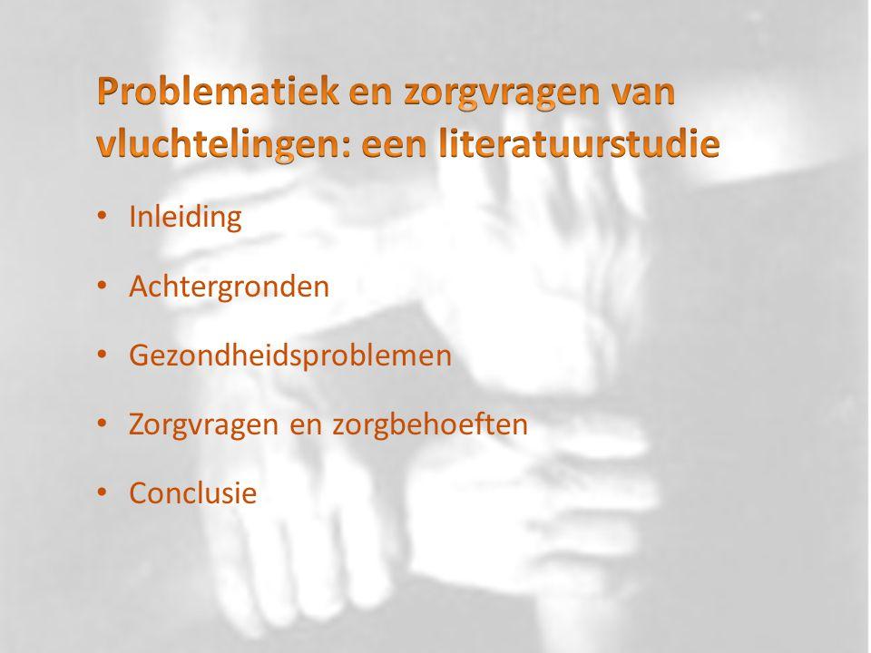 Problematiek en zorgvragen van vluchtelingen: een literatuurstudie