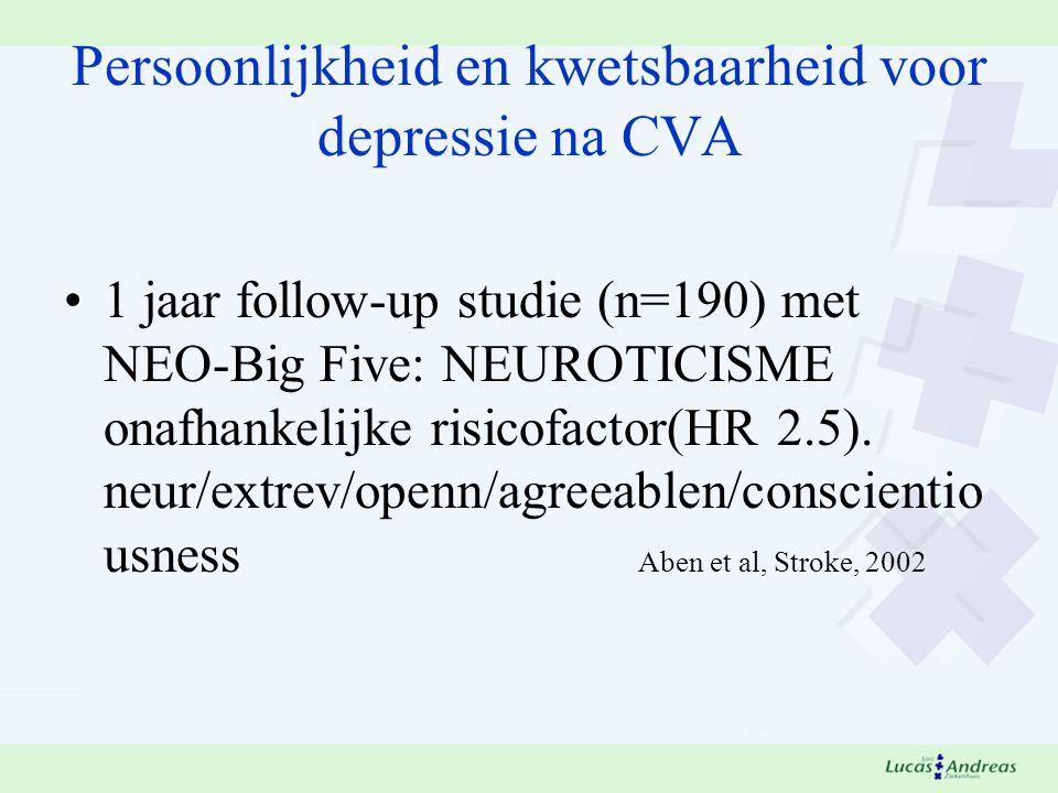Persoonlijkheid en kwetsbaarheid voor depressie na CVA