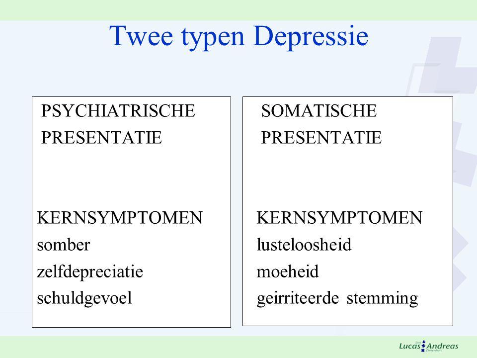 Twee typen Depressie PSYCHIATRISCHE PRESENTATIE KERNSYMPTOMEN somber