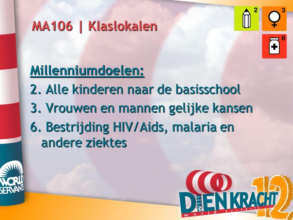 MA106 | Klaslokalen Millenniumdoelen: 2. Alle kinderen naar de basisschool. 3. Vrouwen en mannen gelijke kansen.