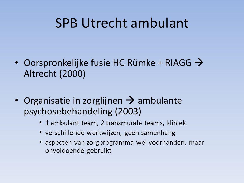 SPB Utrecht ambulant Oorspronkelijke fusie HC Rümke + RIAGG  Altrecht (2000) Organisatie in zorglijnen  ambulante psychosebehandeling (2003)