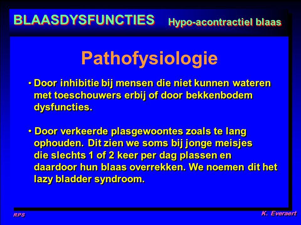 Pathofysiologie BLAASDYSFUNCTIES Hypo-acontractiel blaas