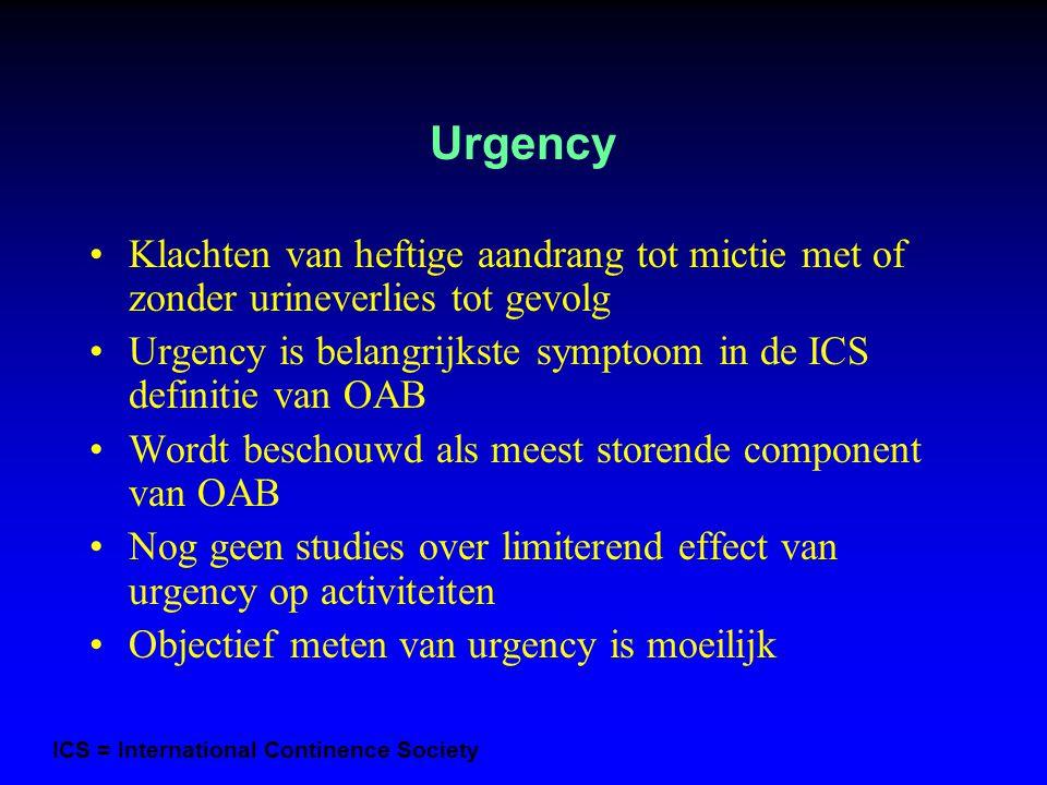 Urgency Klachten van heftige aandrang tot mictie met of zonder urineverlies tot gevolg.