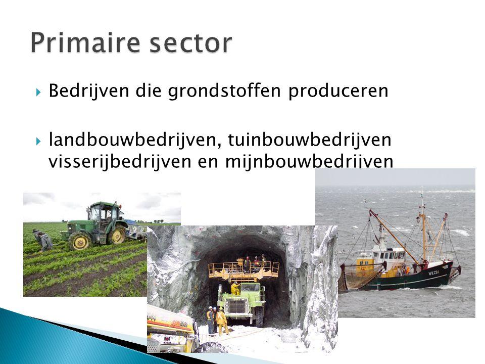 Primaire sector Bedrijven die grondstoffen produceren