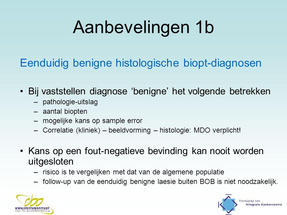 Aanbevelingen 1b Eenduidig benigne histologische biopt-diagnosen